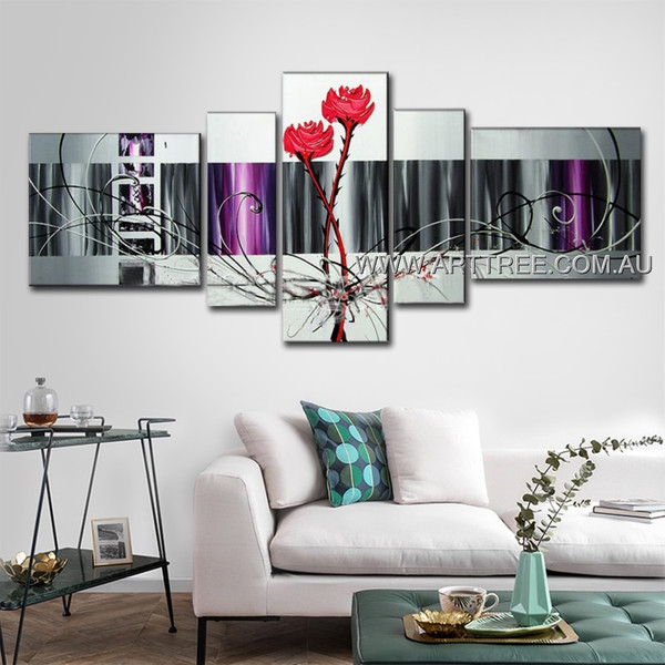 Red Rose Floral Pattern Abstract Floral Modern 5 Piece Split Panel Canvas Wall Art Set For Room Trimming