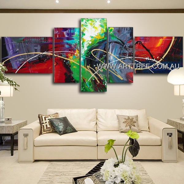Unique Colorful Streaks Abstract Modern 5 Piece Multi Panel Wall Art Paintings Set For Room Tracery