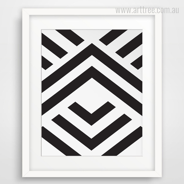 Black and White Angled Stripes Geometry Shape Print