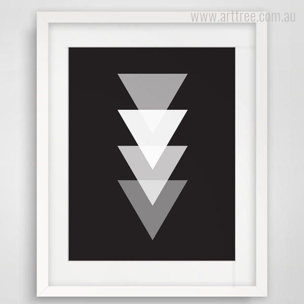 Geometric Down Triangles Black and White Print on Canvas