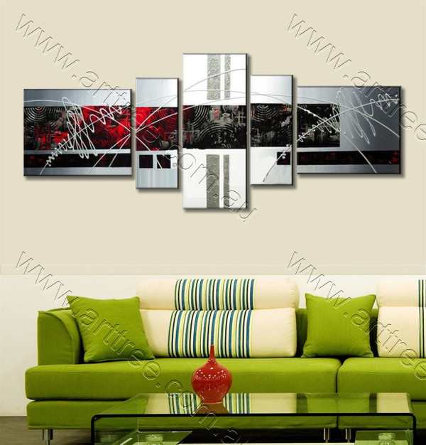 Red & Black Textured Home Decor Paintings