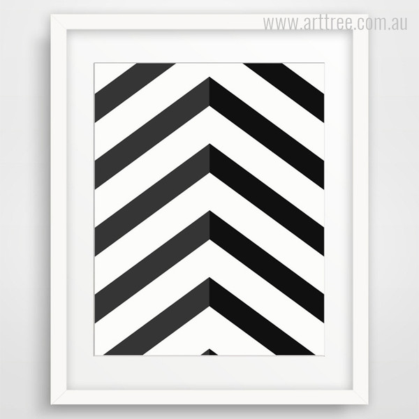 Black Chevron Geometric Pattern Decorations Canvas Print