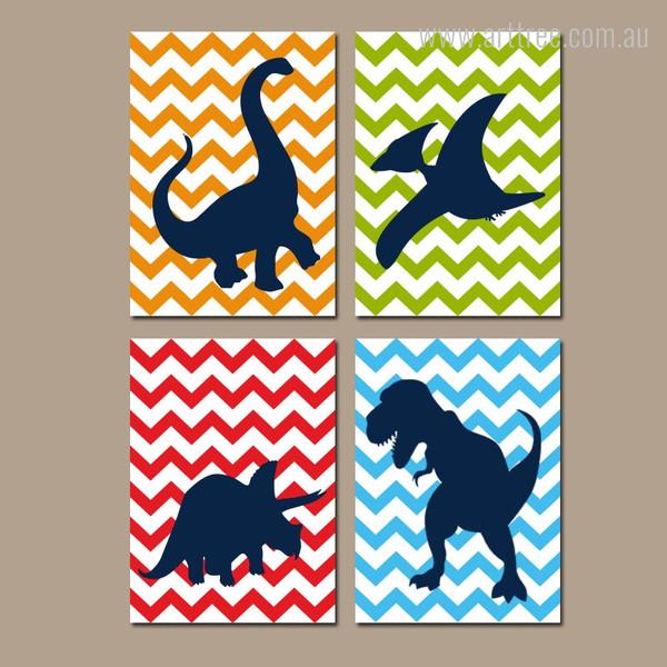 Dinosaur Cartoon Series Set Wave Background Nursery Kids Wall Art