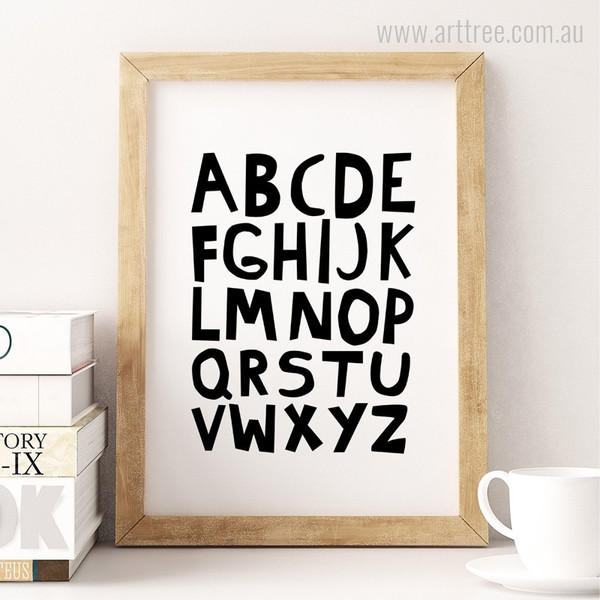 ABC Alphabets Black and White Kids Baby Boy Art