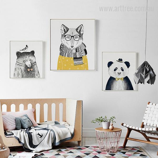 Bear, Fox, Giant Panda Animals Nordic Wall Art Set