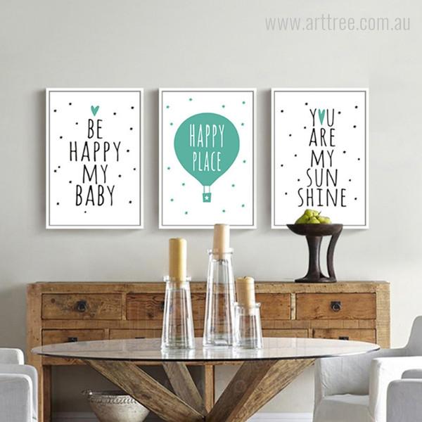 Be Happy My Baby Place Sun Shine Words, Stars Nursery Wall Art