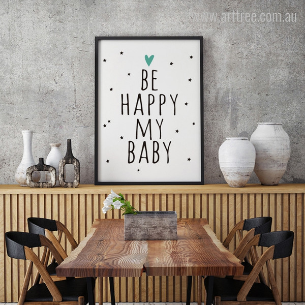 Be Happy My Baby Words Print for Nursery Decor