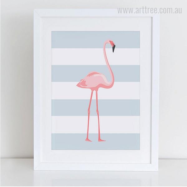 Pink Long Legged Flamingo Bird Photo Canvas Print