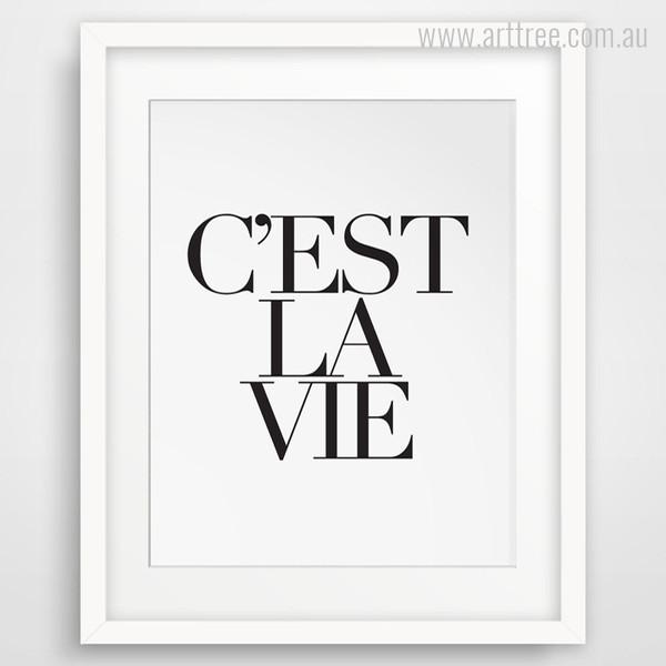 C'est La Vie French Life Quote Wall Art