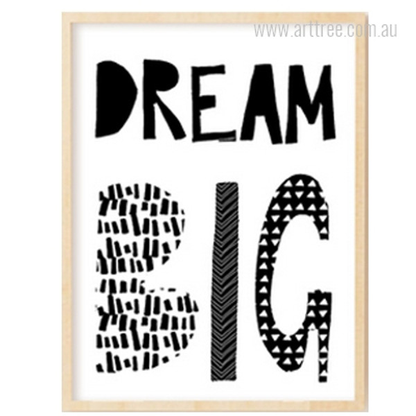 Dream Big Typography Kids Decor Print