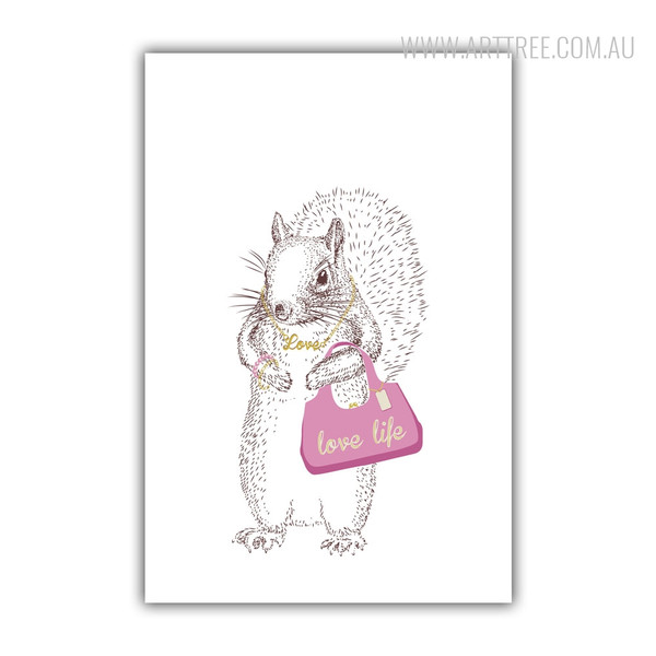 Love Life Pink Bag Squirrel Fashion Animal Art Print