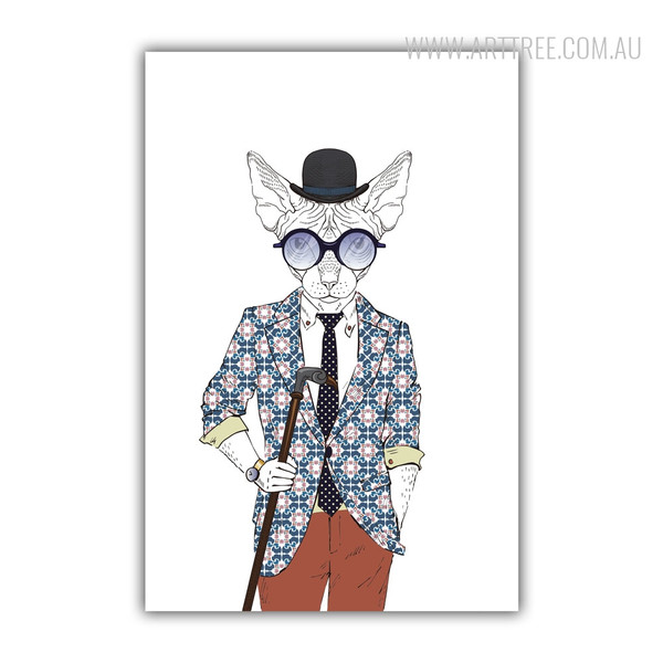 Hipster Style Dressed Sphinx Fashion Animal Art Print