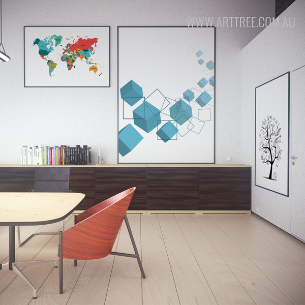 Atlas World Map, Blue Geometric Square and Cubes Canvas Prints