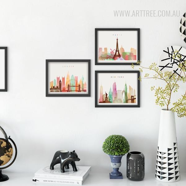 London, New York, Paris Cityscape Watercolor Art Canvas Prints