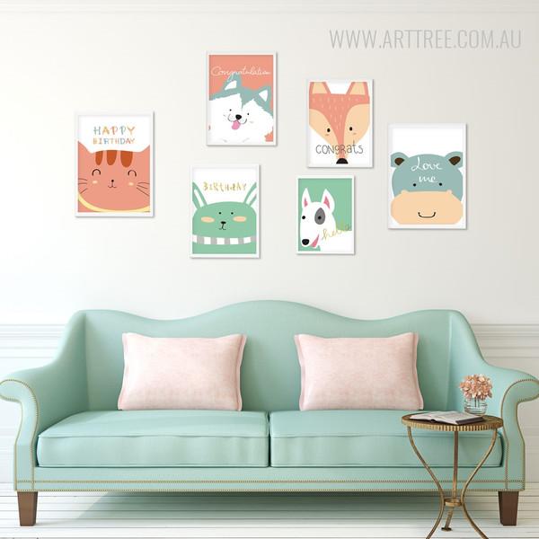 Happy Birthday Cat, Hello Dog, Fox, Hippo Greeting Animals Canvas Prints