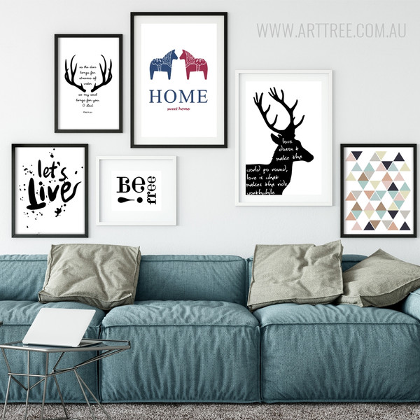 Minimal Triangles, Deer Antlers, Let's Live, Be Free, Home Canvas Prints