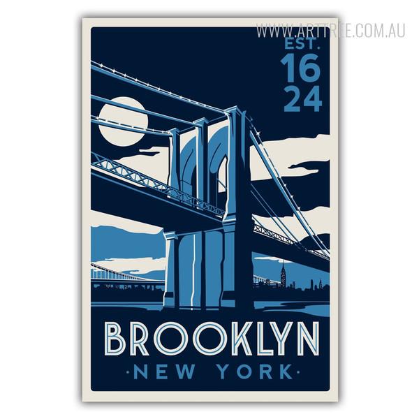Brooklyn New York EST 1624 Vintage Canvas Print
