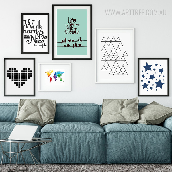 World Map, Geometric Triangles, Stars, Quotes Large Wall Art