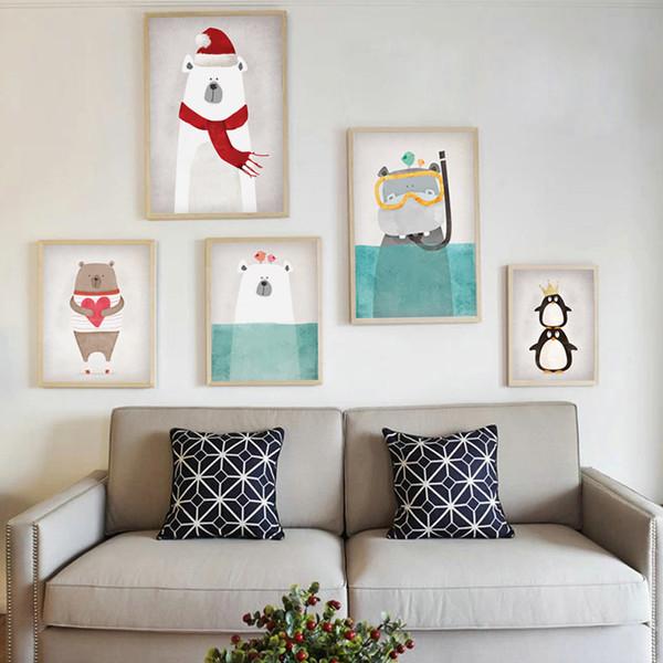 Kawaii Bear, Penguin Bird, Hippopotamus, Polar Bear Animal Prints
