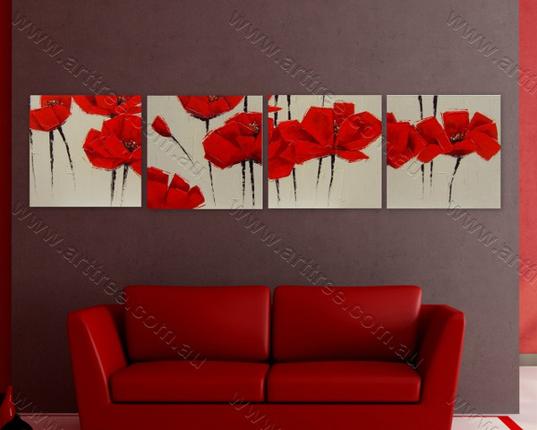 Red Peony Floral split canvas painting