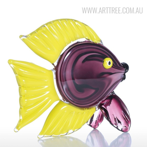 Yellow Tang Fish Glass Sculpture Tropical Miniature
