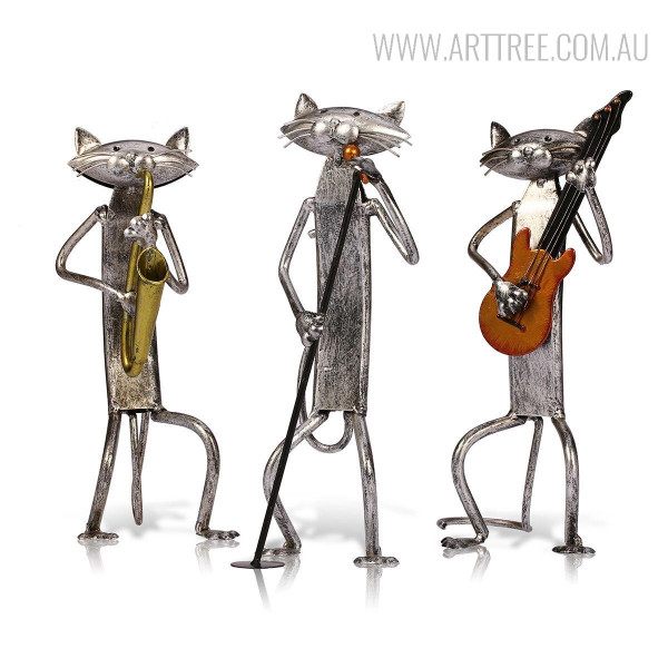 Three Mini Cats Orchestra Band Miniatures Iron Metal Musician Sculptures