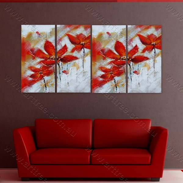 Red Plumeria Floral multi panel oil painting