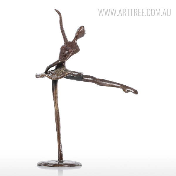 Ballet Dancing Girl A Bronze Sculpture Brown Miniature