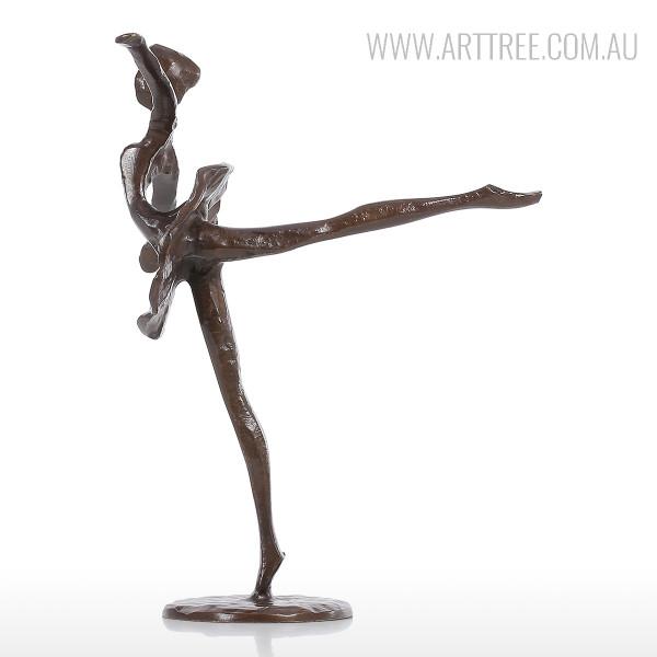 Ballet Dancing Girl B Bronze Sculpture Brown Miniature