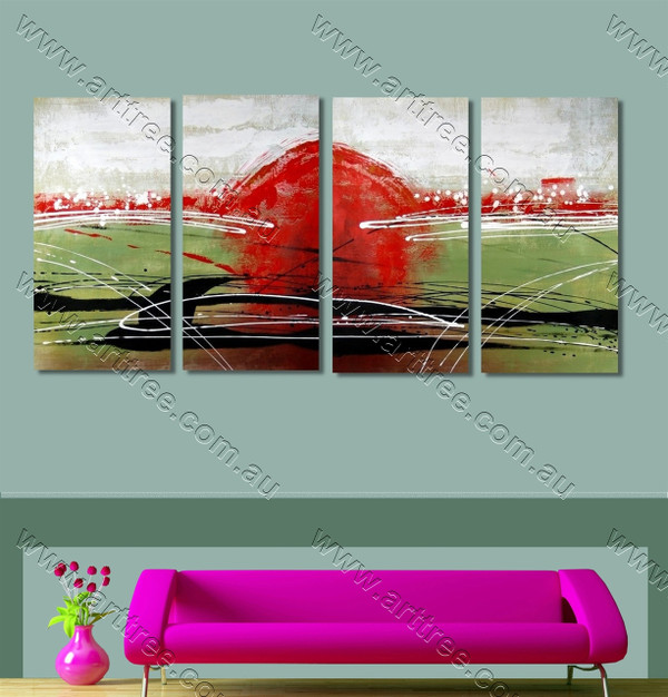 Red modern abstract oil paintings
