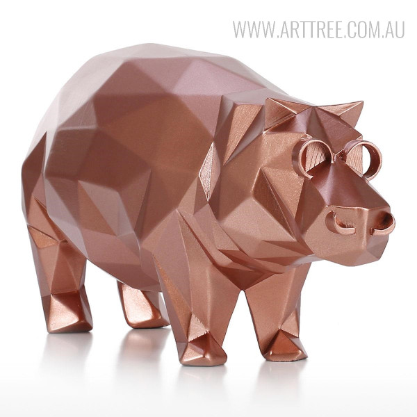 Modern Hippo Animal Sculpture Bronze Resin Miniature
