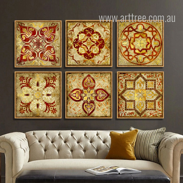 Retro Moroccan Style Golden Print 6 Piece Canvas Art