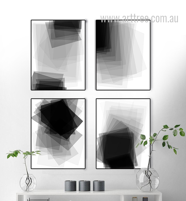 Black and White Geometric Rectangles Large Canvas Prints