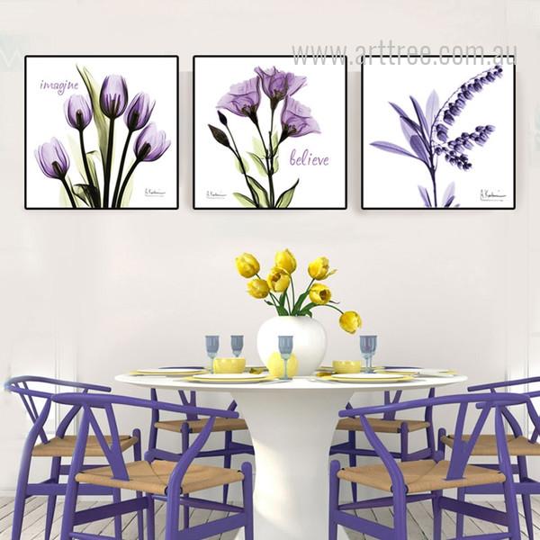 Imagine Believe Words Design Purple Floral Art Set