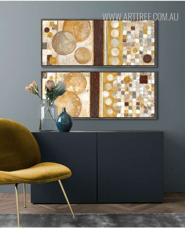 Golden Brown Geometric Circles Style Abstract Art (2)