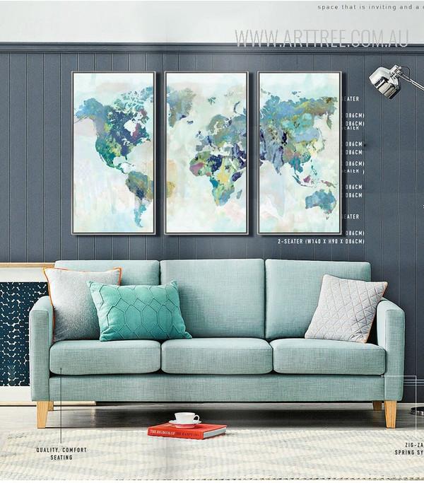 Multicolor World Map Art