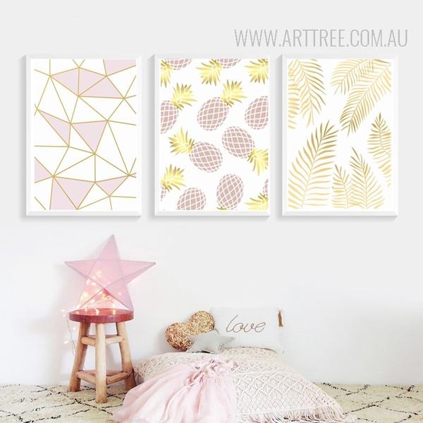 Purple Golden Geometric Lines Pineapple Leaves Modern Art