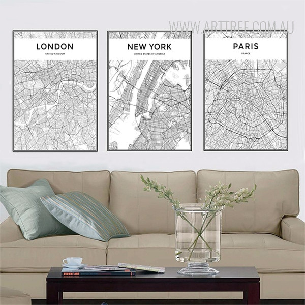 London New York Paris City Map Art Set