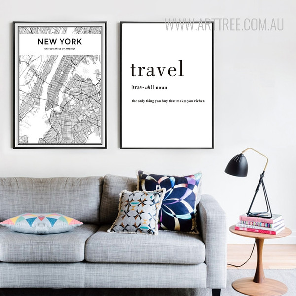 New York City Map Travel Quote Black and White Art