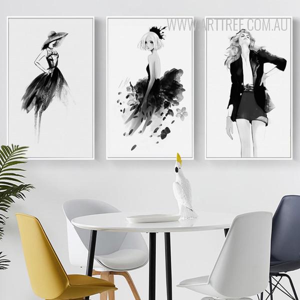 Black Dress Girls Fashion Canvas Prints