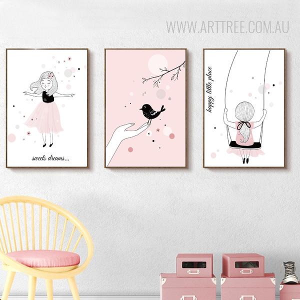 Swing Little Girl Princess Design Kids Art