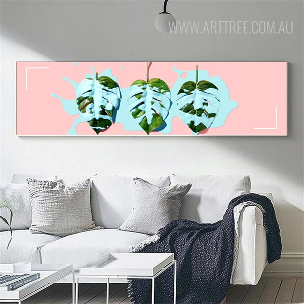 Blue Painted Leaves Panoramic Art
