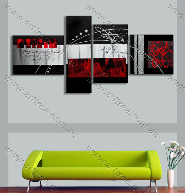 split canvas painting Red Textured
