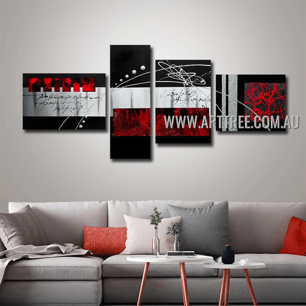 Adorable Red Textured Abstract Handmade 4 Piece Split Oil Paintings For Room Garnish