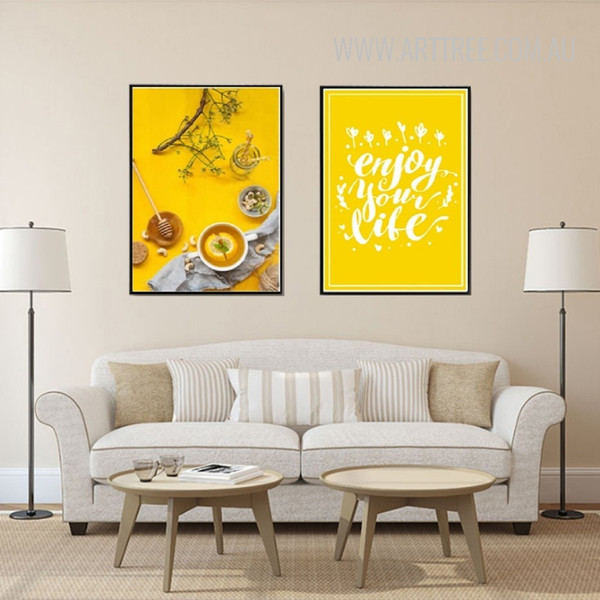 Enjoy Your Life Yellow Food Tea Home Decor Prints