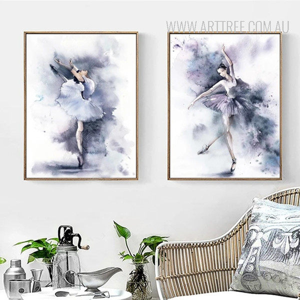 Modern Watercolor Ballet Dance Girl Poster Wall Art