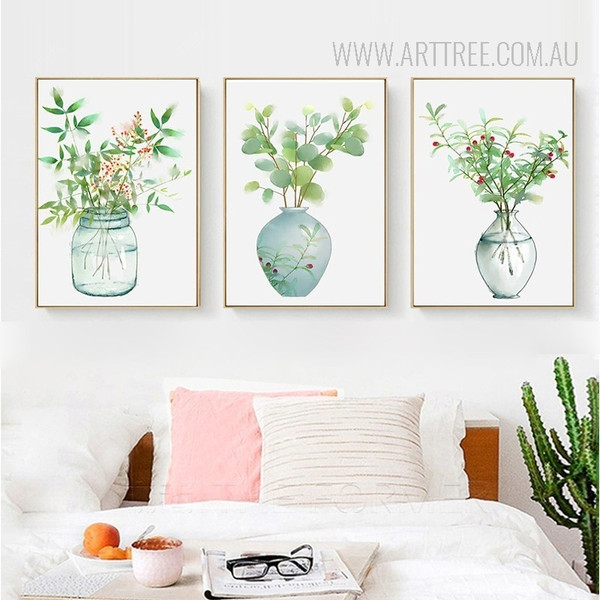 Green Plants in Vase Watercolor Prints