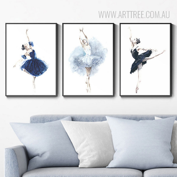 Modern Watercolor Ballet Dancing Girls Wall Art Prints