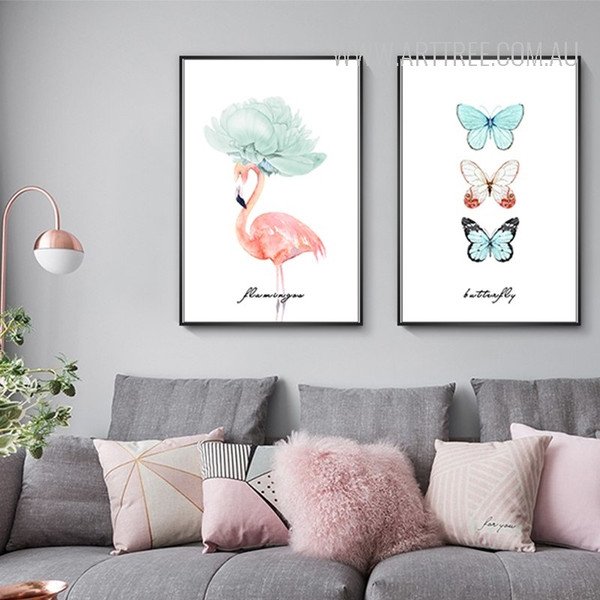 Butterfly Flamingo Bird Watercolor Art Canvas Prints