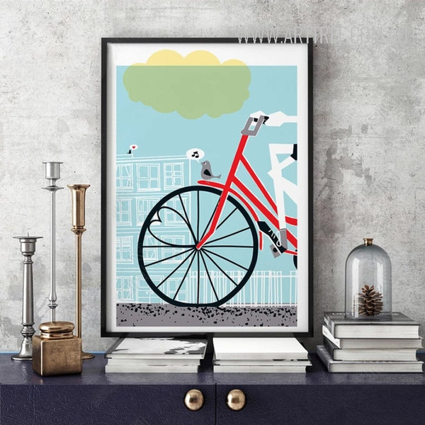 Love is All You Need Red Bicycle Poster Canvas Print